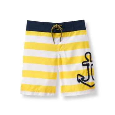 Baby Boy Sunshine Stripe Anchor Stripe Swim Trunk at JanieandJack
