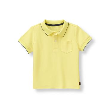 Coastal Yellow Tipped Pique Polo Shirt at JanieandJack