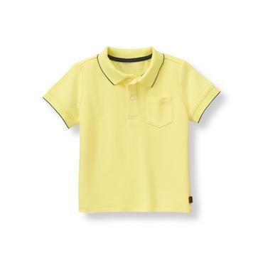 Coastal Yellow Tipped Pique Polo Shirt at JanieandJack