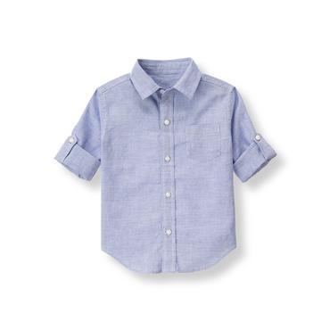 Boys Ocean Blue Stripe Linen Blend Shirt at JanieandJack
