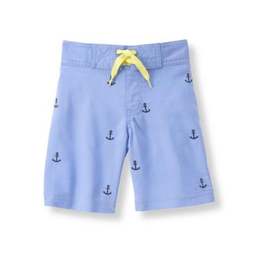Baby Boy Pacific Blue Embroidered Swim Trunk at JanieandJack
