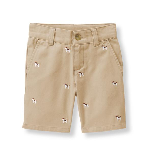 Embroidered Dog Twill Short