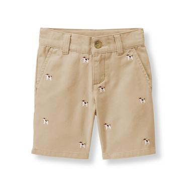 Khaki Embroidered Dog Twill Short at JanieandJack