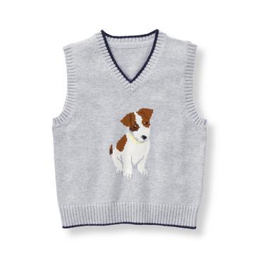Baby Boy Heather Grey Dog Sweater Vest at JanieandJack
