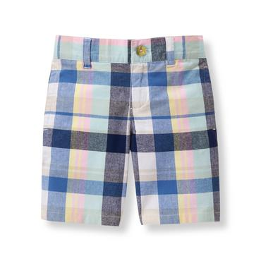 Cobalt Plaid Plaid Poplin Short at JanieandJack