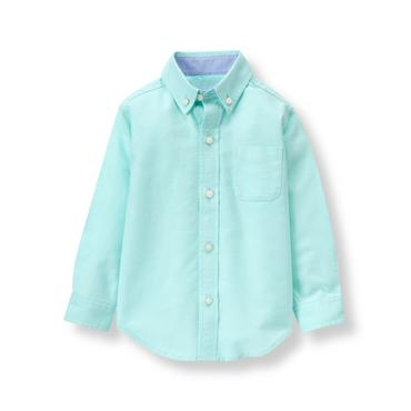 Baby Boy Mint Oxford Shirt at JanieandJack