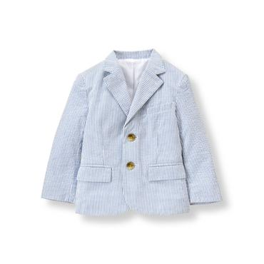Baby Boy Cobalt Stripe Striped Seersucker Blazer at JanieandJack