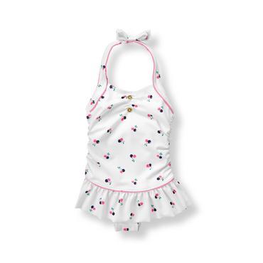 Baby Girl White Cherry Swimsuit at JanieandJack