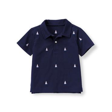 Boys Navy Sailboat Polo Shirt at JanieandJack