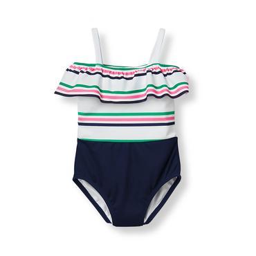 Baby Girl Navy Stripe Striped Ruffle Swimsuit at JanieandJack