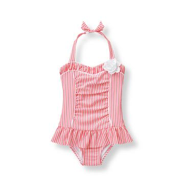 Baby Girl Paradise Pink Stripe Seersucker Swimsuit at JanieandJack