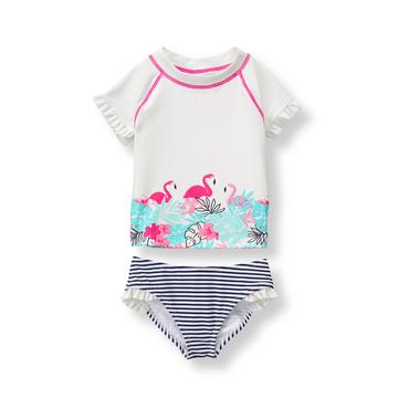 Baby Girl White Flamingo Rash Guard Set at JanieandJack