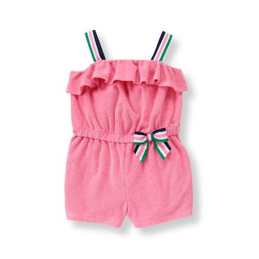 Baby Girl Preppy Pink Terry Romper at JanieandJack