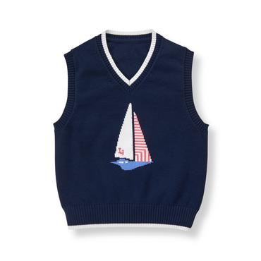 Baby Boy Navy Sailboat Sweater Vest at JanieandJack