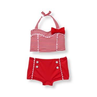 Baby Girl Poppy Red Stripe Striped 2-Piece Swimsuit at JanieandJack