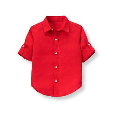 Boys Harbor Red Roll-Cuff Linen Shirt at JanieandJack