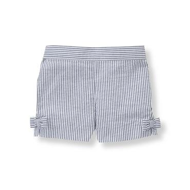 Baby Girl Navy Stripe Striped Seersucker Short at JanieandJack