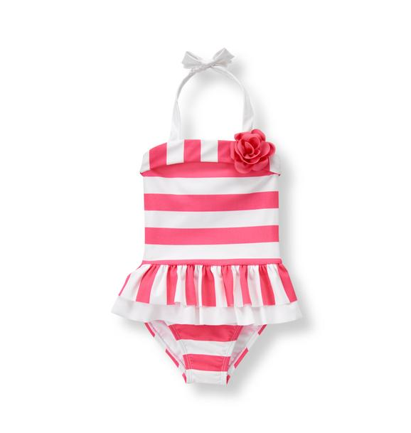 Striped Bloom Swimsuit