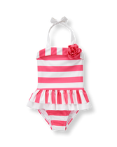 Striped Bloom Swimsuit