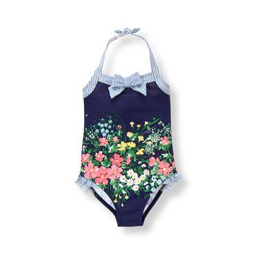 Baby Girl Navy Floral Swimsuit at JanieandJack
