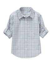 Roll-Cuff Plaid Shirt