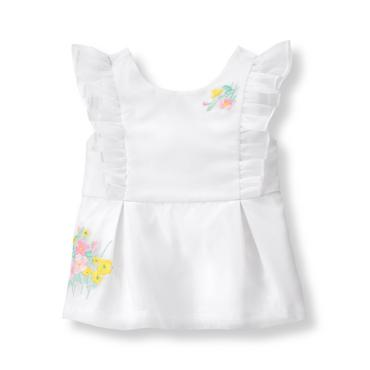 Baby Girl White Embroidered Organza Top at JanieandJack