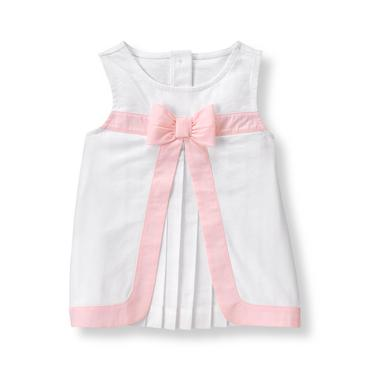 Baby Girl White Pleated Top at JanieandJack