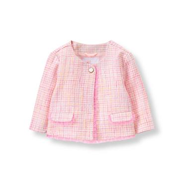 Baby Girl Light Peony Pink Bouclé Jacket at JanieandJack
