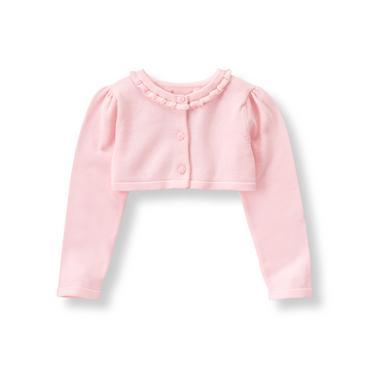 Baby Girl Pastel Pink Ruffle Cropped Cardigan at JanieandJack