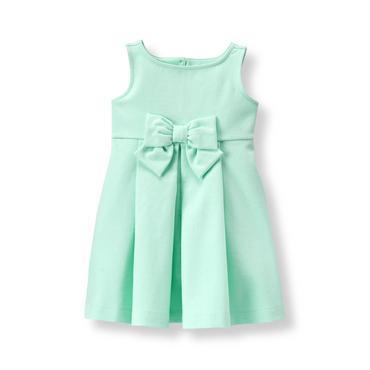 Baby Girl Fresh Mint Pleated Ponte Dress at JanieandJack