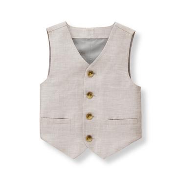 Baby Boy Taupe Grey Linen Blend Suit Vest at JanieandJack