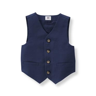Baby Boy Navy Linen Blend Suit Vest at JanieandJack