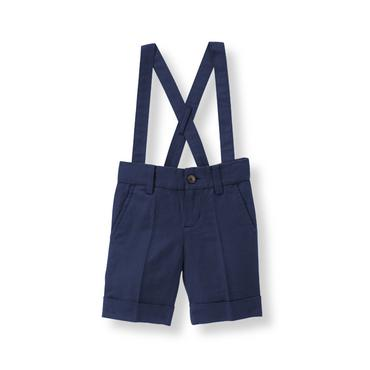 Baby Boy Navy Linen Blend Suspender Short at JanieandJack