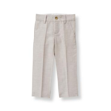 Baby Boy Taupe Grey Linen Blend Suit Trouser at JanieandJack