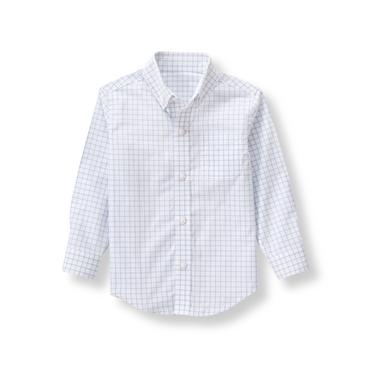 Sky Blue Windowpane Windowpane Dress Shirt at JanieandJack