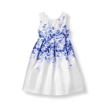 Baby Girl Royal Blue Bloom Floral Sateen Dress at JanieandJack