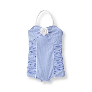 Baby Girl Hydrangea Stripe Seersucker Swimsuit at JanieandJack
