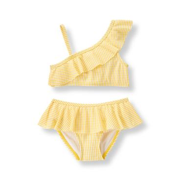 Baby Girl Lemon Stripe Ruffle 2-Piece Swimsuit at JanieandJack