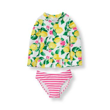 Baby Girl Lemon Print Lemon Rash Guard Set at JanieandJack