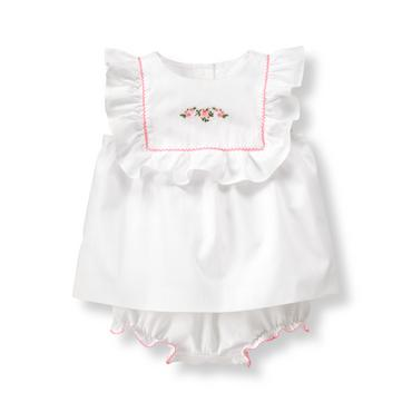 Baby Girl White Embroidered Rose Set at JanieandJack