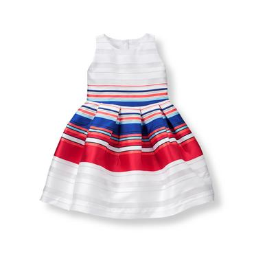 Baby Girl White Stripe Striped Organza Dress at JanieandJack