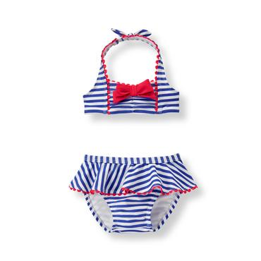 Baby Girl Iris Blue Stripe Striped 2-Piece Swimsuit at JanieandJack