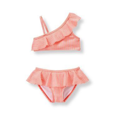 Peach Stripe Ruffle 2-Piece Swimsuit at JanieandJack