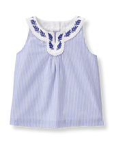 Embroidered Leaf Top