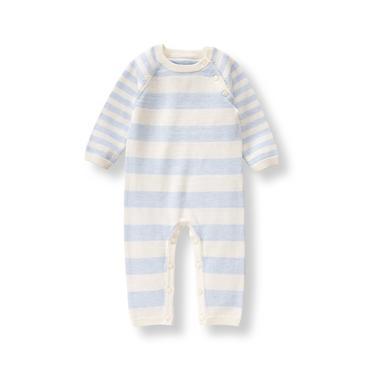 Baby Boy Heather Cornflower Stripe Striped Sweater 1-Piece at JanieandJack