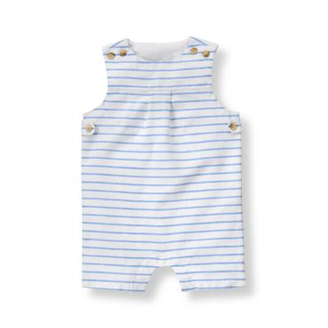 Baby Boy Pond Blue Stripe Linen Blend Shortall at JanieandJack