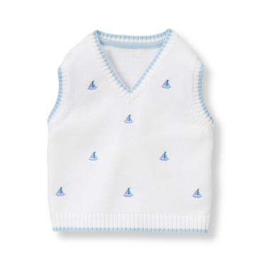 Baby Boy White Sailboat Sweater Vest at JanieandJack