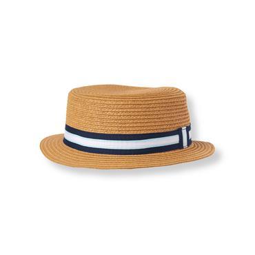 Boys Deep Natural Striped Boater Hat at JanieandJack