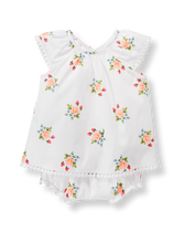 Dot Trim Floral Set