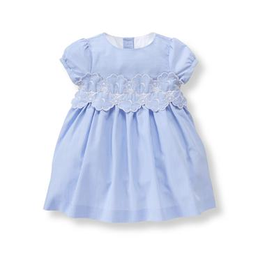 Baby Girl Light Bluebell Stripe Embroidered Bloom Dress at JanieandJack